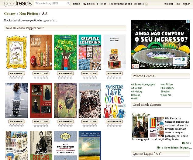 Página da rede social Goodreads, em que usuários se reúnem para classificar livros, escrever críticas e criar estantes virtuais