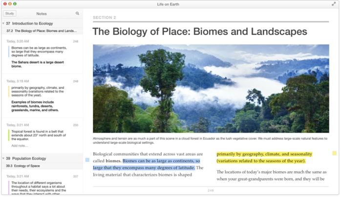 Os diagramas, fotos e vídeos interativos dos livros do iBooks ganham vida com os movimentos do seu trackpad Multi-Touch. Suas anotações e destaques são exibidos no painel de Notas.