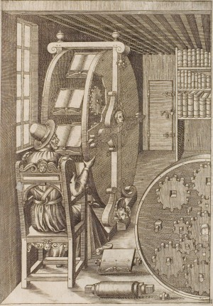 Figure CLXXXVIII in Le diverse et artificiose machine del Capitano Agostino Ramelli, an illustration of a bookwheel