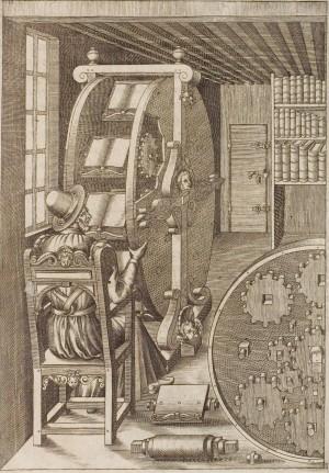 Figure CLXXXVIII in Le diverse et artificiose machine del Capitano Agostino Ramelli, an illustration of a bookwheel