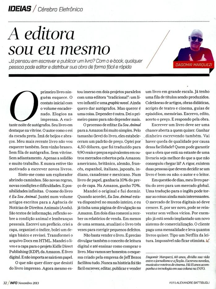 A editora sou eu mesmo | Revista Info, Noermbro 2013
