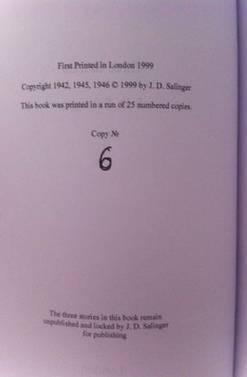 Foto postada no 'eBay' mostra 'livro' que continha os três contos. Nota ao fim da página diz que os textos 'permanecem não publicados e guardados por J.D. Salinger' Reprodução / eBay