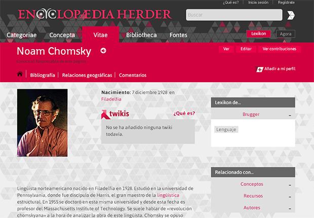 Verbete de Noam Chomsky na Encyclopaedia Herder, projeto colaborativo em espanhol