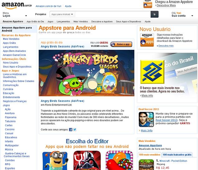 A Amazon Appstore brasileira, loja com aplicativos para Android