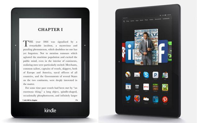 Leitor de e-books Kindle Voyage (esq.) e tablet Fire HDX 8.9, novidades anunciadas pela Amazon | Foto: Divulgação