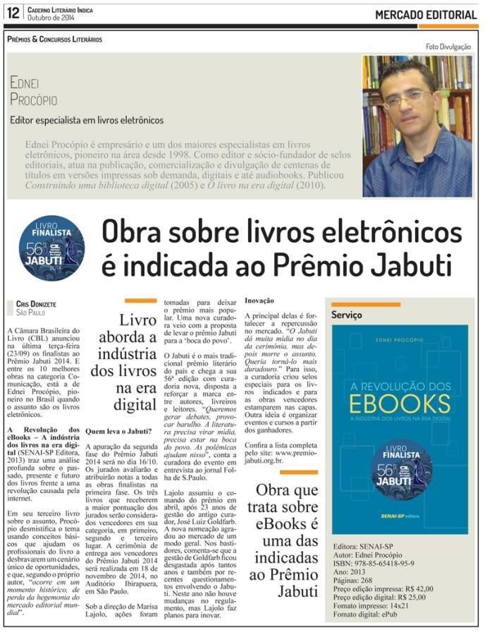 Obra sobre livros eletrônicos é indicada ao Prêmio Jabuti 2014