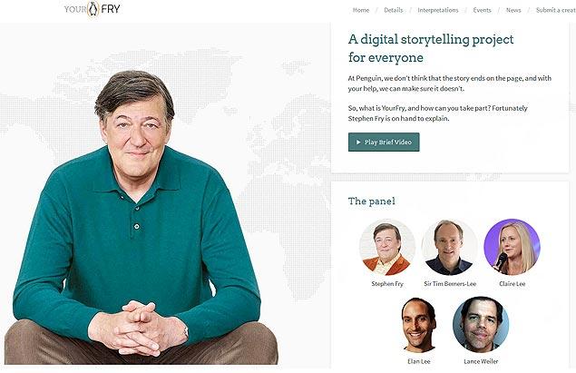 Página inicial do site YourFry, criado pelo comediante britânico Stephen Fry | Imagem/Reprodução: yourfry.com