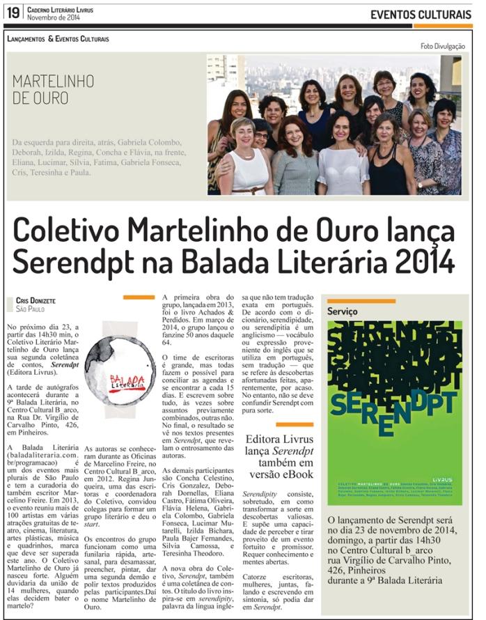Coletivo Martelinho de Ouro lança Serendpt na Balada Literária 2