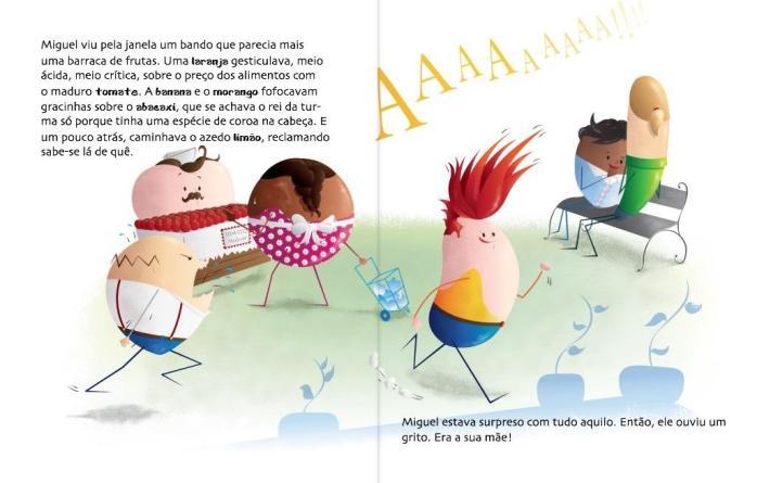 Página do livro O que você quer ser quando comer?4 antes e depois da interação. O toque nos personagens faz com que eles se transformem em alimentos, ideia que é o mote central da história.