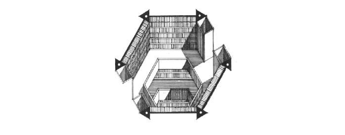 Um dos níveis da biblioteca | Foto: Reprodução