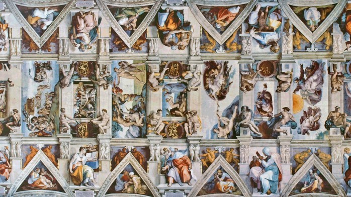 Image of the Sistine Chapel, generated by the Library of Babel.
