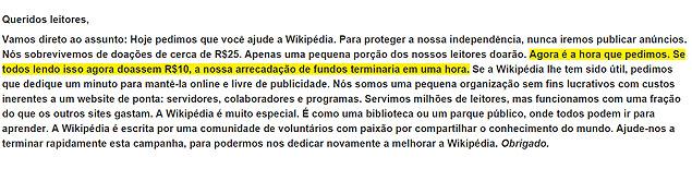 Página inicial da Wikipédia pede doações
