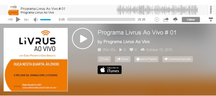 Ouça o Podcast do Programa Livrus Ao Vivo